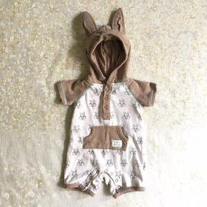 Disney Thumper Hooded Romper Bunny Ears Sz 0-3 Mos